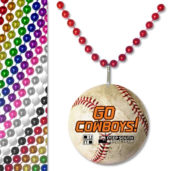 "Promotional 33"" Baseball Pendant Bead Necklace"