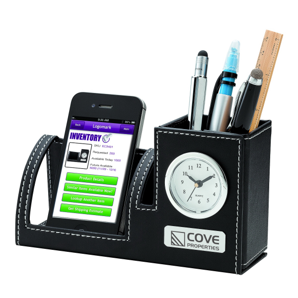 Imprinted Clock, Phone Holder & Pen Cup