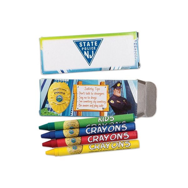 Personalized 4 Pack of Police Safety Crayons