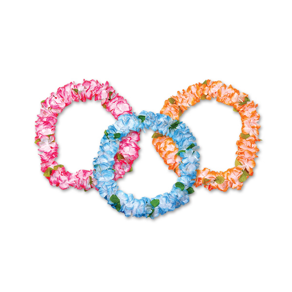 "Imprinted 36"" Pastel Silk Flower Lei"