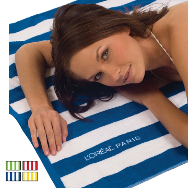 Custom Cabana Striped Loop Terry Beach Towels