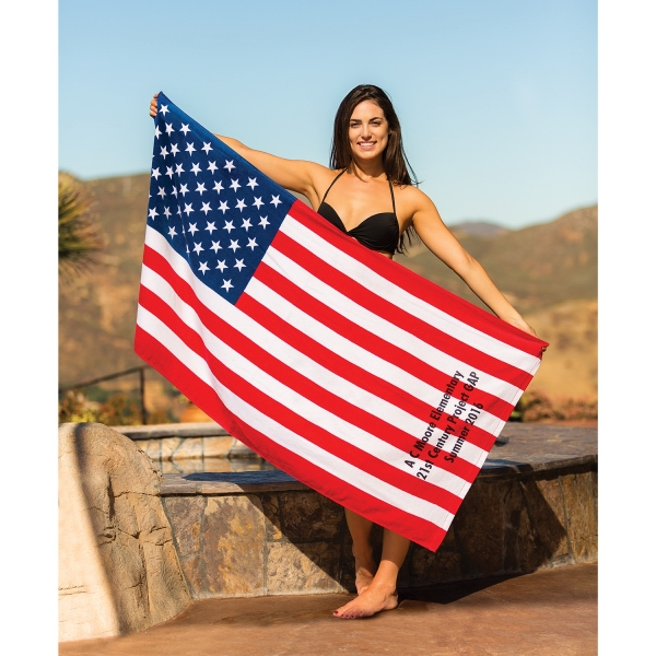 Personalized Stock Fiber Reactive Print Beach Towel - US Flag