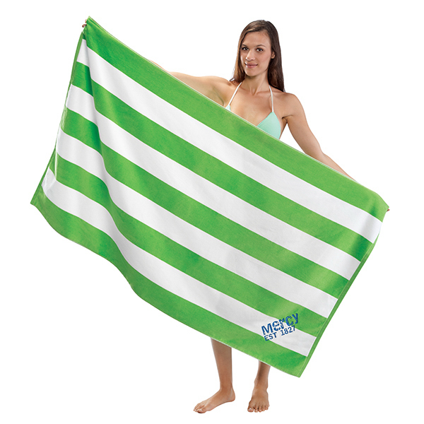 Printed Premium Cabana Striped Terry Velour Beach Towel