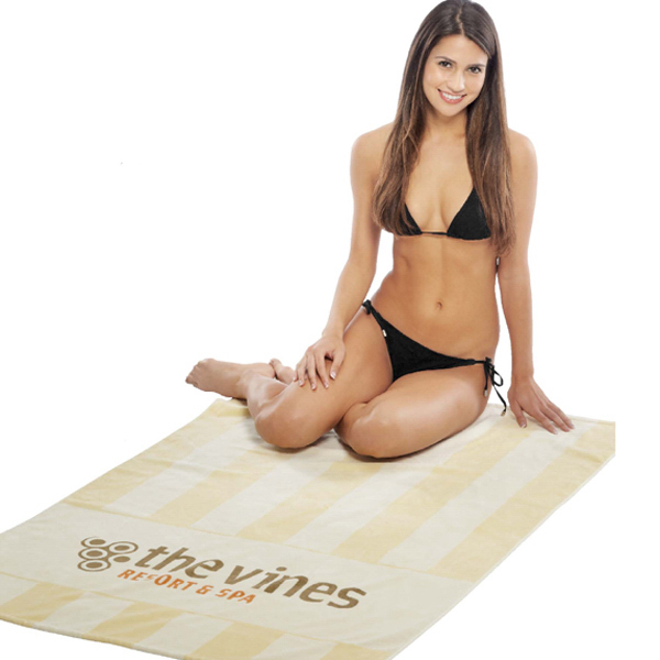 Customized Del Mar Stripe Terry Velour Beach Towel