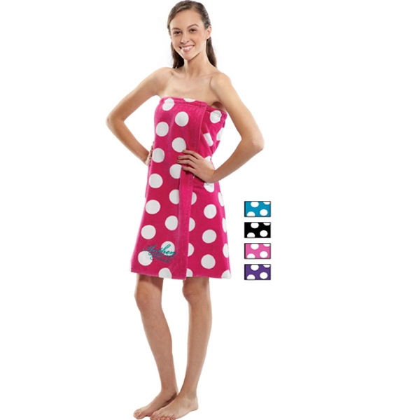 Imprinted XXL Women's Polka Dot Terry Velour Spa Wrap