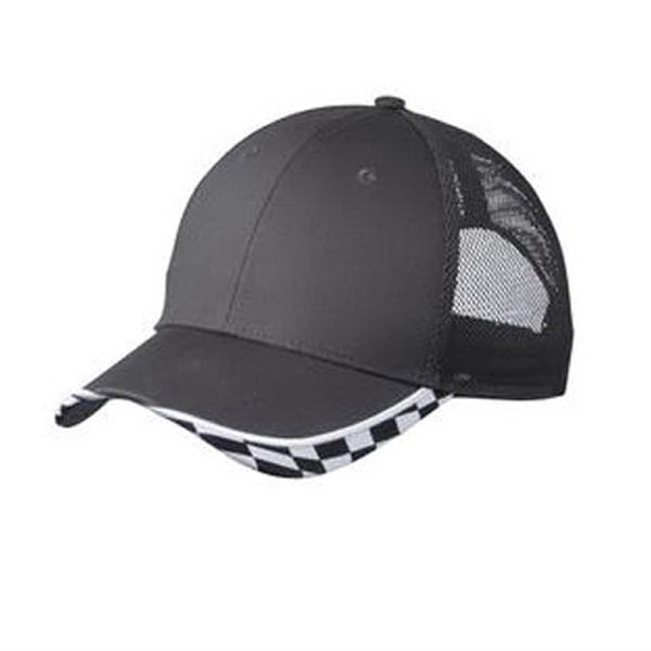 Customized Port Authority Checkered Racing Mesh Back Cap