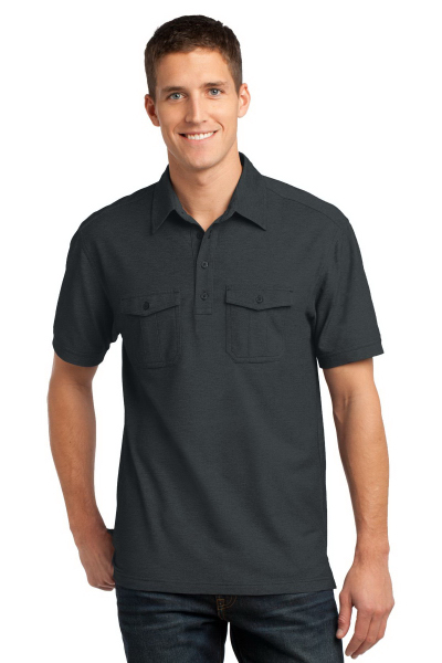 Printed Port Authority Oxford Pique Double Pocket Polo