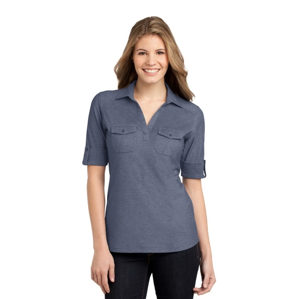 Promotional Port Authority Ladies Oxford Pique Double Pocket Polo