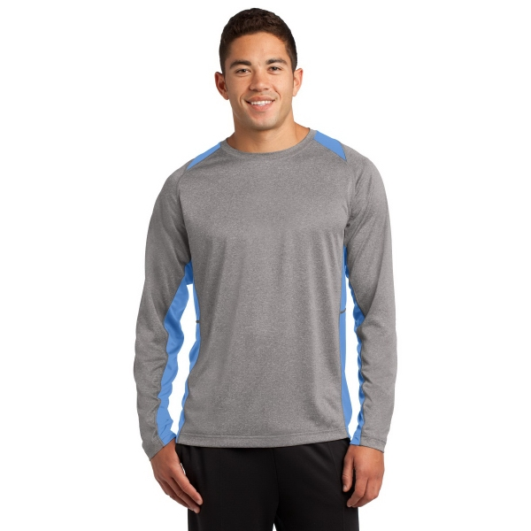 Custom Sport-Tek Long Sleeve Heather Colorblock Contender Tee