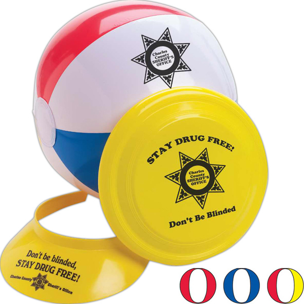 Printed Beach Fun Kit, Beach Ball, Flyer and Visor Kit