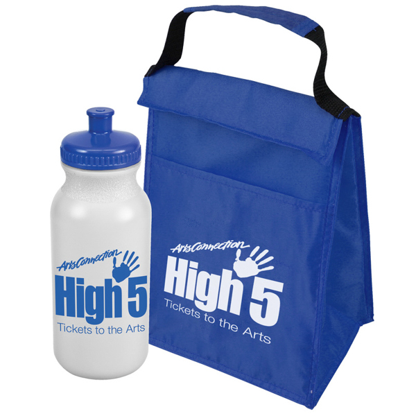 Printed Lunch Tote and Bottle Combo