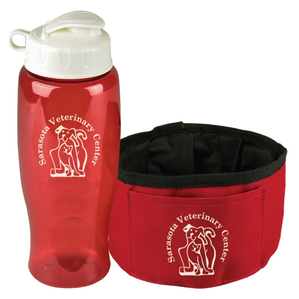 Promotional The Thirsty Dog Sports Bottle and Folding Dog Bowl