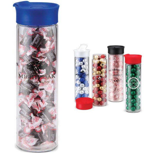 Printed Leak Proof Cylinder Glass Water Bottle Filled with Candy