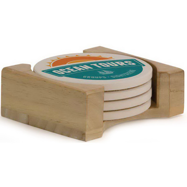 Promotional Light Wood Coaster Stand