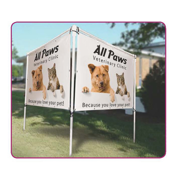 Custom In-Ground Banner Frame V-Shape Display Hardware Only