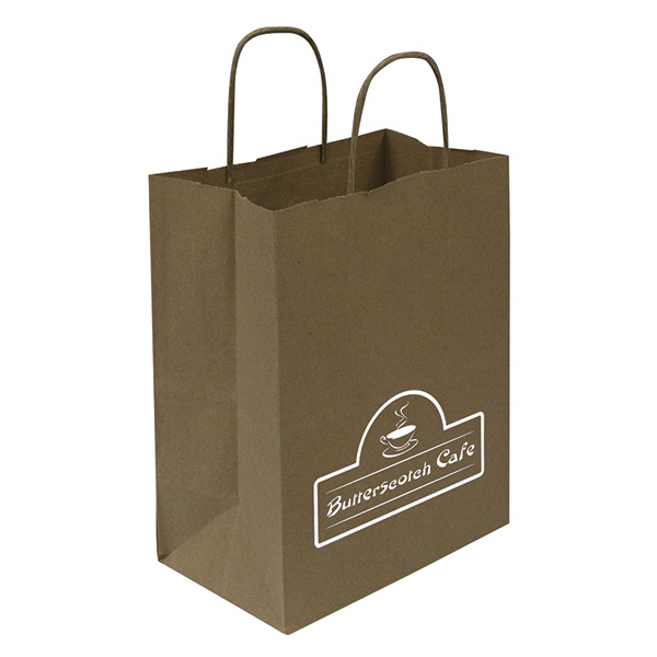 Customized Kraft Shopper 1-Color Hot Stamp Foil