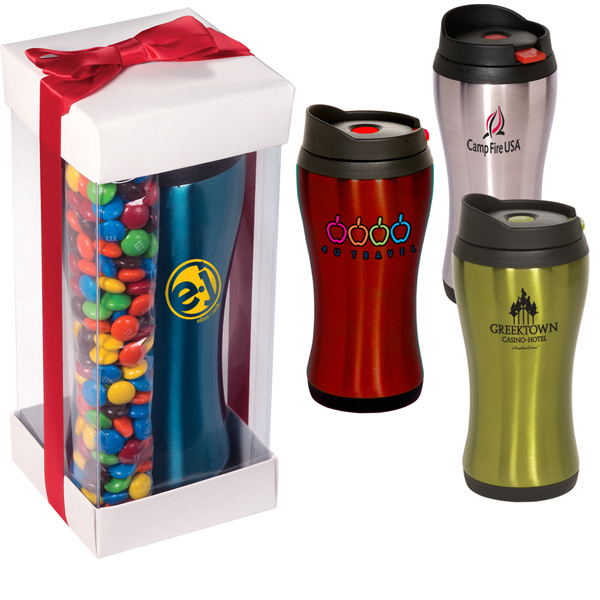 Printed Click 'N Sip Tumbler With Candy Coated Chocolate Gift Set