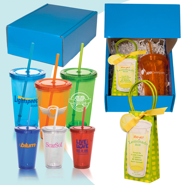 Printed Lemonade Straw Sipper Kit