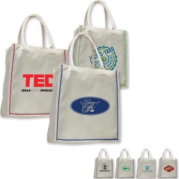 Promotional Fancy Shopper with Color Stripe