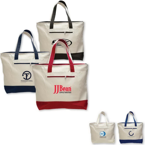 Personalized Canvas Zipper Tote Bag