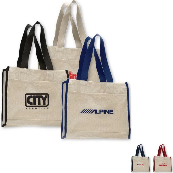 Imprinted Canvas Gusset Tote Bag
