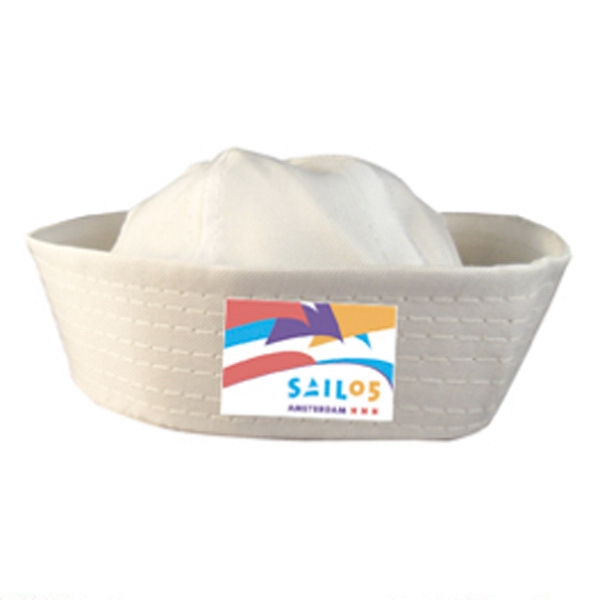 Imprinted White Sailor Hat With Multi-Color Print