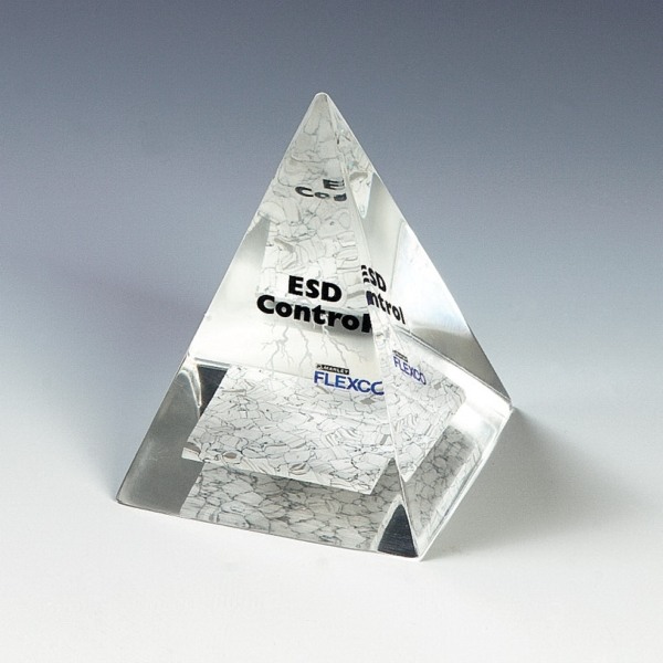 Genuine Lucite (R) Four Sided Pyramid Embedment