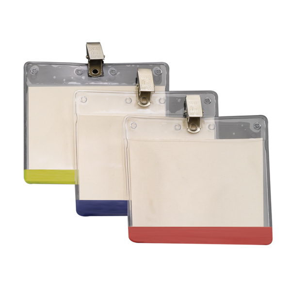 Imprinted Horizontal Vinyl Pouch with Bulldog Clip and Colored Bar