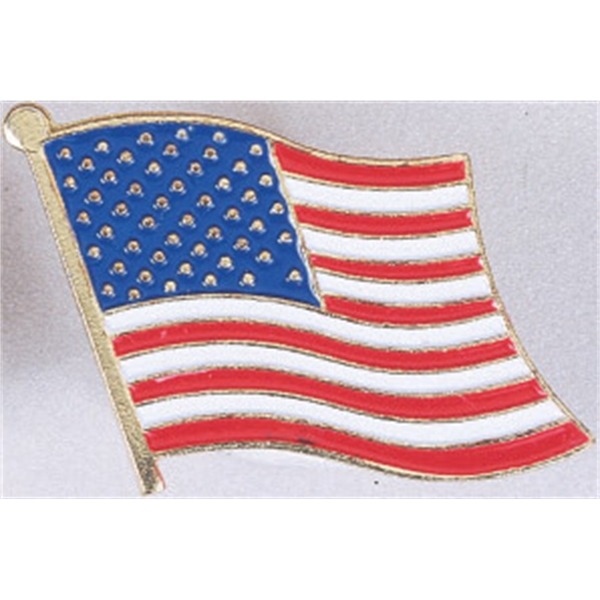Stock Waving Flag Enamel Filled Pin