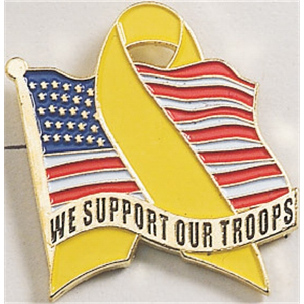"Stock Enamel  ""We Support Our Troops"" Flag Pin"