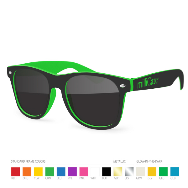Personalized Two-tone Wayfarer Sunglasses with Side Imprint, no setups!