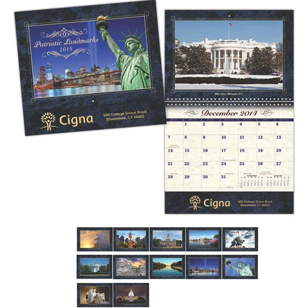 Printed Coronado Collection Patriotic Landmark Wall Calendar