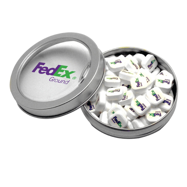 Silver Short Round Tin with Printed Mints