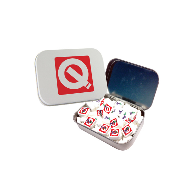 Large White Mint Tin with Printed Mints