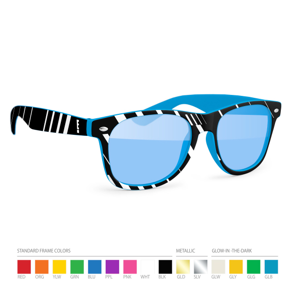 Customized Two-tone Wayfarer sunglasses with Blue lenses. No Setups!
