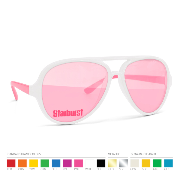 Two tone Aviators w/ Imprint on Pink Lens. No Setups!