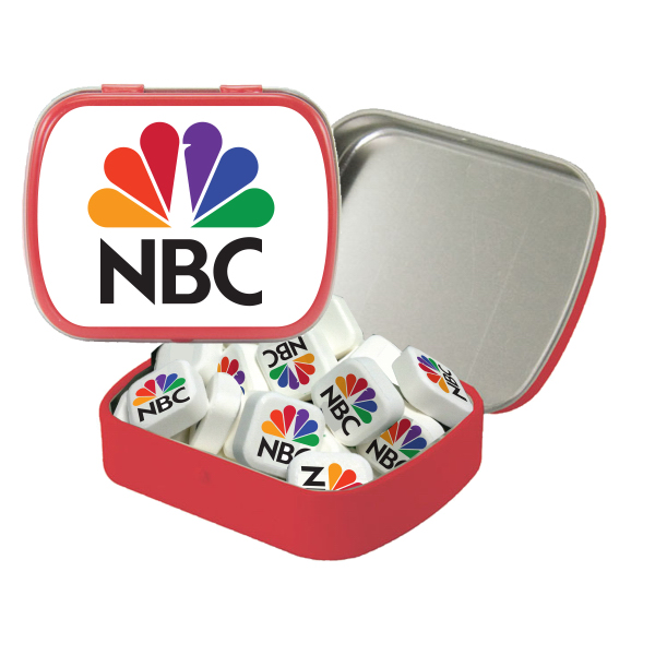 Small White Mint Tin with Printed Mints