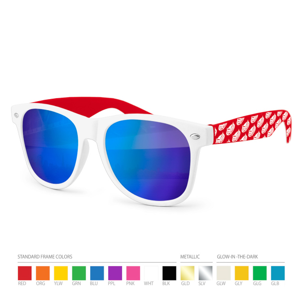 Mirrored Two Tone Sunglasses with Side Imprint