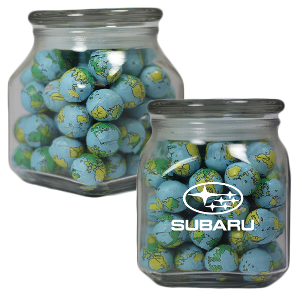 Apothecary Jar with Chocolate Sports Balls - Glass Jar