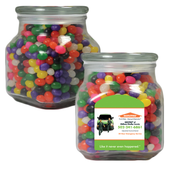 Large Apothecary Candy Jar with Jelly Beans -  Glass Jar