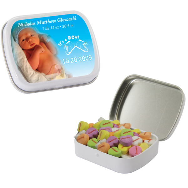 White Heart Mint Tin w/ Conversation Hearts - Valentines Day