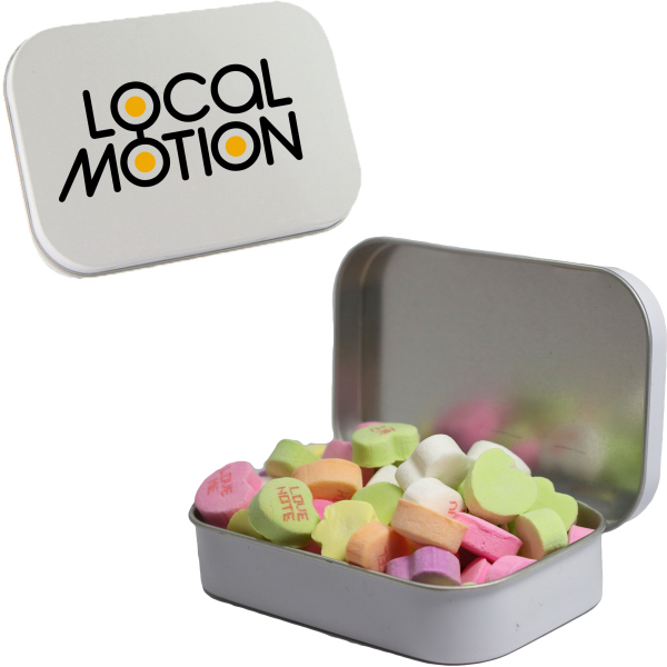 White Mint Tin with Conversation Hearts - Valentines Day