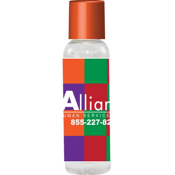 Customized 2 oz. Hand Sanitizer - Antibacterial - Orange Cap