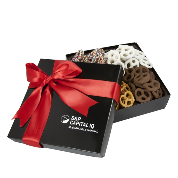 Imprinted 4 Cavity Gift Box with Assorted Mini Pretzels