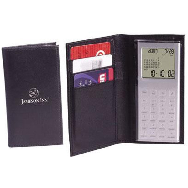 Wallet calculator/clock with calendar and world time