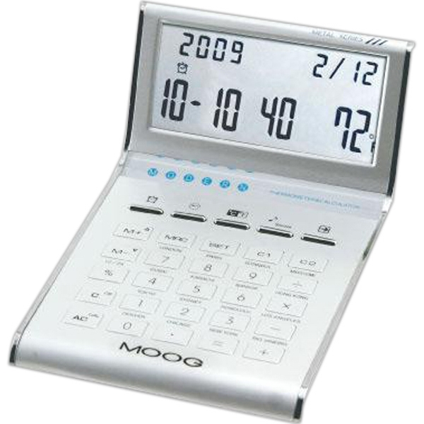 Aluminum slim line calculator/clock with date,  temperature