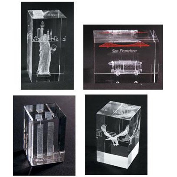 Custom 3-D interior laser etched lead crystal