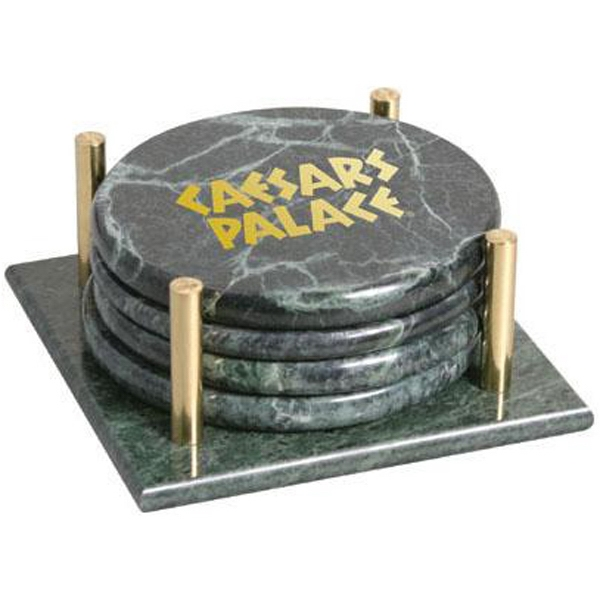 Set of 4 round marble coasters with stand