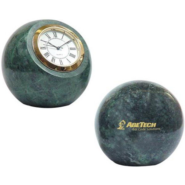 Marble ball paperweight with clock