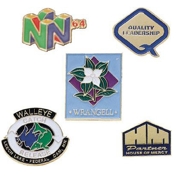 Soft enamel die-struck lapel pins